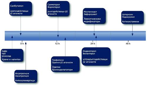 Фиг. 2. Времетраене на действието на някои фармакологичните агенти върху бронхиалната гладка мускулатура