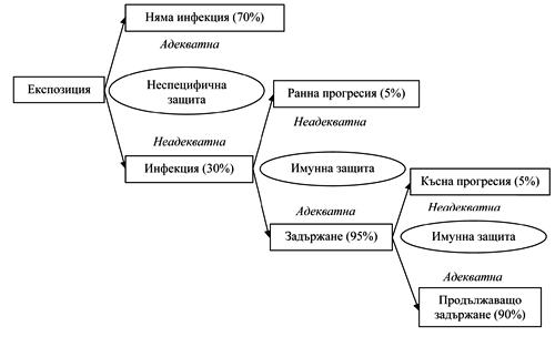 Фигура 1. Трансмисия и патогенеза на туберкулозната инфекция при HIV-серонегативни лица (по Philip Hopewell)